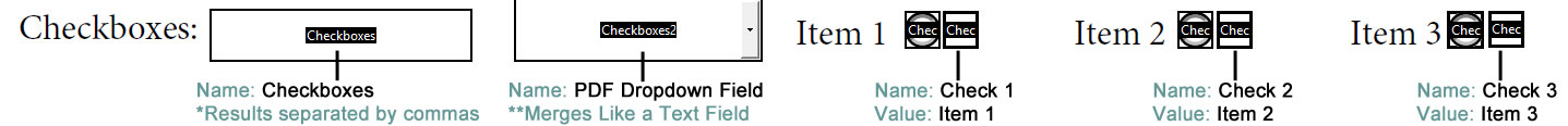 from PDF Form - Checkbox Field Settings