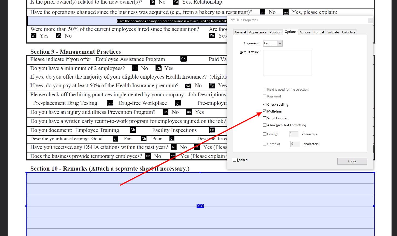 Multi-line PDF field