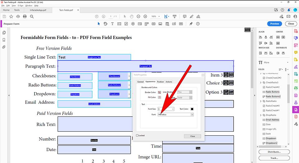 Change PDF Form Field Font